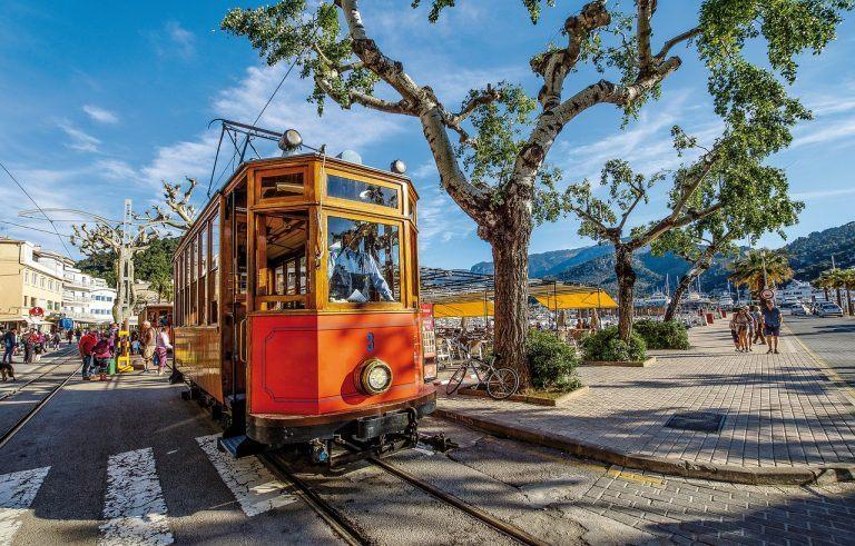 Tram in Puerto Soller - top of Mallorca on Instagram spots